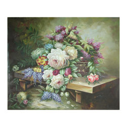 Oriental Furniture - Hand Painted Table Floral Bouquet - Cascading flowers in shades of pinks, purples, and blues are arranged amongst greenery and set atop a low table in this stunning hand-painted canvas. The muted but enticing colors and the delicate brushstrokes make this work of art a piece for all to enjoy.