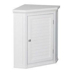 Elegant Home Fashions - Elegant Home Fashions Slone Corner Wall Cabinet with 1 Shutter Door - White - EL - Shop for Bathroom Cabinets from Hayneedle.com! Easily store bath linens in style with the Elegant Home Fashions Slone Corner Wall Cabinet with 1 Shutter Door White. This durable engineered wood cabinet makes the most out of your unused corner space with its elegant design and functional interior shelving. The cabinet features an all-white body with decorative louvered door oval-shaped door knob in shimmering chrome and a spacious interior with adjustable shelf for customizable organization of all your toiletries towels and appliances.About Elite Home FashionsProviding affordable extravagance Elite Home Fashions has been the nation's foremost manufacturer of bathroom accent furniture and bathroom accessories in the United States. Their customers include some of America's finest and most prestigious retailers department stores and discount retail chains. Elite Home Fashions has traveled the globe to give consumers the best quality and design for their bathroom decor.