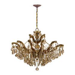 Crystorama - Crystorama 4439-AB-GT-MWP Maria Theresa 6 Light Chandeliers in Antique Brass - There's undeniable magic when light meets crystal or glass. It sparks the same fire one sees when light meets precious and semi-precious stones. Great lighting often takes styling cues from jewelry as well, with its primary use of gold and silver tones. Just like an outfit isn't complete without the perfect necklace, bracelet or earrings, a room isn't complete until it has lighting that adds the WOW factor when you walk in.