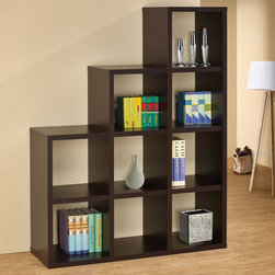 Coaster - 800295 Room Divider Bookshelf - Finished in cappuccino, this tiered bookcase features nine open cube storage spaces. The perfect organizational solution for any home.