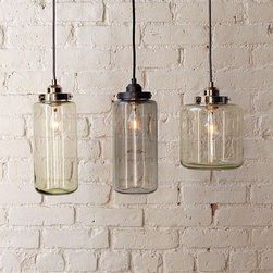 Glass Jar Pendants - I love that these pendants were inspired by antique glass jars for their softly glowing, industrial-chic feel. The green and gray colors are also reminiscent of antique glass jars. I think they work best as a trio, but one hung in a small alcove could look good too.