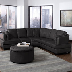 Coaster - Landen Leather Sectional - Black - This sleek and contemporary sectional sofa with bonded leather seating is perfect for any large living room. With its curved frame and pocket coil seating, the Landen collection is sure to accommodate your guests. Add more seating for your guests with a matching ottoman set (#501105).