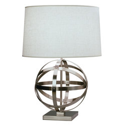 Robert Abbey - Lucy Table Lamp - A stylish table lamp is a great way to bring both function and form into your living room. Choose from a nickel or bronze finish and set the light just right for your needs. A three-way switch will give you options for setting the mood for reading, chit chatting or relaxing.