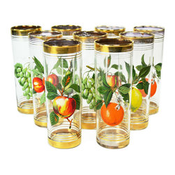 Lavish Shoestring - Consigned 9 Highball Cocktail Glasses with Fruit Decor, Vintage English, 1950s - This is a vintage one-of-a-kind item.