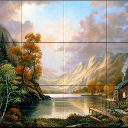 The Tile Mural Store (USA) - Tile Mural - Fall Serene - Kitchen Backsplash Ideas - This beautiful artwork by John Zaccheo has been digitally reproduced for tiles and depicts a log cabin next to a lake during fall.  This woodland tile mural would be perfect as part of your kitchen backsplash tile project or your tub and shower surround bathroom tile project. Wood land images on tiles add a unique element to your tiling project and are a great kitchen backsplash idea. Use a woodland scene tile mural for a wall tile project in any room in your home where you want to add interesting wall tile.