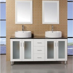 "Design Element - Design Element Seabright 60"" Double Sink Modern Bathroom Vanity - White - The 48"" Malibu showcases light, clean lines and geometric shapes though a well-balanced convergence of wood, glass, and porcelain. The result is a practical, superbly functional design with a rich range of forms, hues, and textures. The lack of architectural embellishments make the Malibu a great value and a perfect fit for the ultra-modern bathroom. Quality design points were not sacrificed, such as solid oak construction (no MDF in sight), soft-closing cabinet doors, a water-resistant finish, and a tempered glass countertop. Thanks to the round vessel sink, there's plenty of counter space, and storage space is further enhanced with six large drawers and two cabinet doors. Features: Solid Oak Wood constructionBlack Tempered Glass CountertopRound Vessel sinkPolished chrome pop up drainThree Drawers and Soft Closing Double DoorMatching framed mirrorSoft closing cabinet door ensures you never hear door slam againManufacturer provides 1 year warrantyFaucet(s) not included60""W x 22""D x 34""H How to handle your counter"