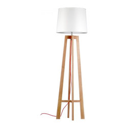 ParrotUncle - Four-legged Wood Floor Lamp with Bell Shade - Warm and winsome, this chic lamp is an absolute showstopper. With a white linen shade of solid russia ash wood standing tall on four legs, it will illuminate your space with contemporary style that's totally timeless.