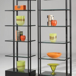 "Johnston Casuals - Encore Contemporary tagre Set - Who couldn't use some versatility in their space? The Encore Contemporary tagre Set, featuring sleek yet functional designs, gives you all of that along with loads of style. With several beautiful glass shelves and many available metal finishes, this contemporary tagre is versatile enough to match any dcor. Individually hand-made in Johnston Casuals' USA factory, you can be sure this tagre will provide years of lasting quality and aesthetic appeal. tagre Features: -Individually hand-crafted in the USA. -High quality powder-coat metal construction. -5 Glass shelves on each side. -Sleek yet functional contemporary designs. -Overall dimensions (each side): 78"" H x 26"" W x 16"" D. -10-Year structural failure warranty on metal frame. -Please Note: This item is constructed with a method called ""Bubble-Gum Welding"" which may cause the joints or welds to appear rough, lumpy or unfinished. This is *not* a defect but is done to create a stronger weld. More customization options may be available for an additional charge. Also, please be aware that as each item is created individually, slight variations in finish and shape may occur."