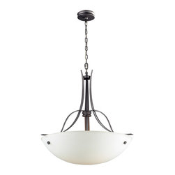 ELK Lighting - ELK Lighting 61053-3 Franklin Creek 3 Light Pendants in Graphite - Throughout history, the combination of glass and iron has always been associated with a design purity that transcends various decors. Finished in Dark Umber, the Franklin Creek collection utilizes gracefully flowing ironwork while low profile glass compliments this series smooth shapes and clean lines. Finished in Dark Umber with amber glass or Graphite with white glass.