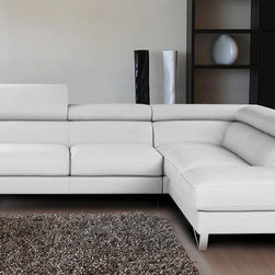 J&M Furniture - Sparta Italian Leather Sectional Sofa in White, Right Chaise - Seats and backs of this sectional feature high density foam to give extra comfort and support. Upholstered in top grain genuine Italian leather all around with no splits. Sectional also features adjustable head rest and ratchet mechanism. *29'' Height / 290 lbs