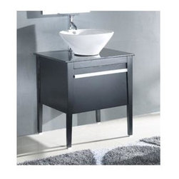 Legion Furniture - 26 in. Solid Wood Vanity Cabinet in Espresso Finish - Faucet not included. Measurement tolerance: (+/- 0.25 in.). Pre-drilled with one hole one slot faucet. White ceramic vessel sink. Made from wood. Assembly required. 26 in. W x 22 in. D x 34 in. HTo create your own unique bathroom vanity set by mixing and matching pieces and components is the great feature that you should consider this vanity. Taking a cue from the clean-lined, architectural shapes sought after in today's bath market, this wooden counter top cabinet top with the round white vitreous china sink crowning with simply no fuzz design with deep espresso finish. Space saving draw down door, accent with chrome door handle, complete this vanity with of interest and loads of function to this upscale design.
