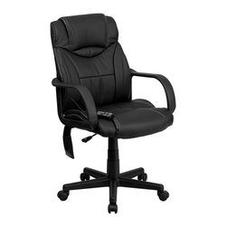 Flash Furniture - Flash Furniture Massaging Leather Executive Office Chair in Black - Flash Furniture - Office Chairs - BT2690PGG - Enjoy a relaxing massage in the comfort of your own office or home with this incredibly comfortable Massaging Executive Office Chair by Flash Furniture. The included remote has a variable slider intensity mode to get to your desired comfort level and has a designated side pocket when not in use. Chair features a high back contemporary design with soft leather upholstery and double padded seat and back. Get the most out of your next office chair with this Overstuffed Padded Executive Chair with included Massage feature.