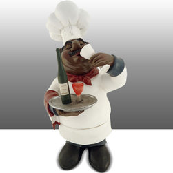Black Chef Kitchen Statue Drinking Wine Table Art Decor - Beautiful Kitchen Counter Table Top Art Decoration fo Bistro Cook or Restaurant.