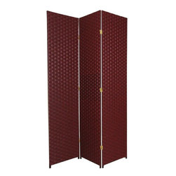 Oriental Furniture - 7 ft. Tall Woven Fiber Room Divider - Red/Black - 3 Panel - This seven foot tall room divider is built from natural plant fiber woven over a lightweight wooden frame. Ideal for bringing an earthy, serene feeling to any room, this tall screen is perfect for dividing a space or adding privacy to a room.