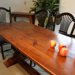 Long Dining Table - Reclaimed Wood Tables are classic , family durable tables. These tables can be customized to look sleek or rustic but always are casually elegant. All sizes and colors possible. www.lakeandmountainhome.com. 978-505-3222