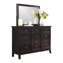 Millwood by ivgStores - Dresser & Mirror - Sleek, streamlined and sophisticated, the intriguing style of this dresser and mirror set will be a gorgeous addition to your bedroom decor. The set includes a nine-drawer dresser with lined jewelry compartments and picture frame style wood hardware and a matching mirror. It is made of wood and finished in a rich sable. Set includes Dresser and Mirror. Color/Finish: Sable. Contemporary sable stained finish. All drawer interiors completely finished in contrasting cherry color. High leg case design. Doors and drawers set in a contemporary bead moulding. Full extension ball bearing side glides. Removable felt lined jewelry trays. Sophisticated picture frame hardware. Dresser: 62 in. W x 20 in. L x 44 in. H. Mirror: 44 in. W x 3 in. L x 33 in. H