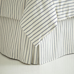 Ballard Designs - Ticking Stripe Bedskirt - Navy Full - Coordinates with our Ticking Stripe Duvet & Sham. Machine washable. When we found our vintage Ticking Stripe fabric, we knew it belonged in the bedroom. The Bedskirt is hand finished in 100% cotton with split corner kick pleat and center pleat for a crisp, tailored look perfect for guest or boy's room. Ticking Stripe Sham features: . .