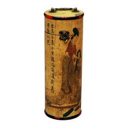 Oriental Unlimted - Hand Painted Ladies Wine Box - Holds 1 bottle. Features an indigenous Fujian lacquering style. Depicts a splendidly dressed geisha. Handpainted and antiqued. Perfect for presenting a gift of wine or storing your favorite rare and exclusive bottle. Built with mahogany and Elm wood. Antique-finished for a gorgeous authentic look. Resulting surface has a matte finish. 4.5 in. W x 5 in. D x 13 in. H