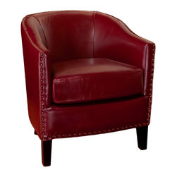 Great Deal Furniture - Carlton Red Leather Club Chair - The Carlton Leather Club Chair is a fusion of modern style with the luxury of leather. Crafted with only the highest quality materials, our bonded leather is soft, smooth, and will provide durability for years to come. This club chair will be welcomed into your home.
