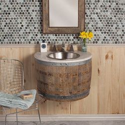 Bordeaux Wall Mount Vanity by Native Trails - This reclaimed oak wine barrel is disassembled and modifed before it is repurposed as a bath vanity or wetbar. It is finished with multiple custom-blended waxes, hand-rubbed into the oak. Plumbing is accessible from the underside.
