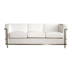 Wholesale Interiors - White Le Corbusier Petite Sofa - If you are looking for a contemporary leather sofa for your home or office, then the Le Corbusier white leather sofa is the perfect choice. If you want to add style to any room with couches, leather is the best choice. And you cannot go wrong with couches and loveseats that are top notch reproductions such as this couch. The beautiful cushions on which you sit are covered in leather while the exterior is covered in leather match, making this easy to care for and durable furniture. Sofa leather of this quality cannot be found at any furniture sofa sale. Adding to the beauty and contemporary style of this piece is the bent tubular steel that frames the piece and wraps around the sides and back for a contemporary accent. Whether shopping for a leather sofa for your home, office, or waiting room, this is the perfect piece to reflect your style and sophistication. Quantity is limited, so do not wait, shop for this piece today.