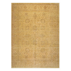 Rugsville - Rugsville Peshawar 5th Avenue Beige Beige Wool 101x13.7 Rug PW3019-1014 - The 5th Avenue Peshawar collection is Hand Knotted in India. Each rugs quality is woven with hand-spun wool and vegetable dyed. These rugs, which can take up to a year to weave, are then washed and dried in the sun giving each authentic rug its soft subdued tones and muted colors.