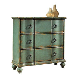 PULASKI Furniture - Accents Hall Chest in Weathered Blue Finish - DS-739276 - 3 drawer chest