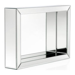 Z Gallerie - Strand Wall Shelf - Putting a classical spin on a modern decorative wall piece, our Stand Shelf offers both a mirror and stunning shelf combination. With its modest size and multi functionality, the Stand Shelf is able to decoratively accent both a wall or tabletop .  With beveled mirrors surrounding all sides, the Stand Shelf offers a reflective focal point, adding dimensionality and style to any space.  Place found treasures atop or inside the piece for added hint of glamour. Can be hung horizontally or vertically. Exclusive to Z Gallerie.