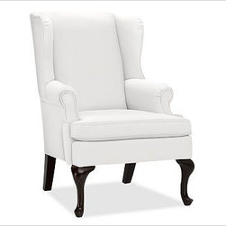 "Gramercy Upholstered Wingback Armchair, Washed Linen/Cotton White - A design standout, this armchair has sloping wings, double-scroll arms and cabriole legs that define it as a Queen Anne Wingback. 29.5"" wide x 34"" deep x 42"" high Corner blocked frame for structural integrity. Tight back is thickly padded for extraordinary comfort. Heavy gauge sinuous springs support a T-shaped seat cushion with a solid foam core that's wrapped in plush padding. Espresso-stained hardwood legs. This item can also be customized with your choice of over {{link path='pages/popups/fab_leather_popup.html' class='popup' width='720' height='800'}}80 custom fabrics and colors{{/link}}. For details and pricing on custom fabrics, please call us at 1.800.840.3658 or click Live Help. View and compare with other collections at {{link path='pages/popups/furniture_DOC.html' class='popup' width='720' height='800'}}Upholstery Furniture Facts{{/link}}. Watch a video about the high quality of our {{link path='/stylehouse/videos/videos/pbq_v22_rel.html?cm_sp=Video_PIP-_-PBQUALITY-_-OUR_UPHOLSTERY' class='popup' width='950' height='300'}}upholstered furniture{{/link}}. Made in USA."