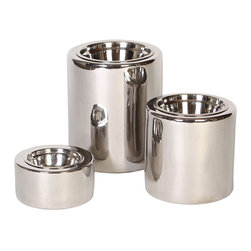 Unleashed Life - High-rise Nickel - Small  Feeder - Polished Nickel Finish- Design in its purest form, this contemporary High-rise collection of elevated porcelain feeders features a shiny nickel finish. The High-rise feeders provide a stylish accent to your home and your pet's dining experience.