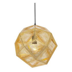 Etch Shade Pendant - Every time I look at this brass pendant light it reminds me of a golden bee hive. I think it would look perfect in a entryway. The golden fixture would create a welcoming glow.