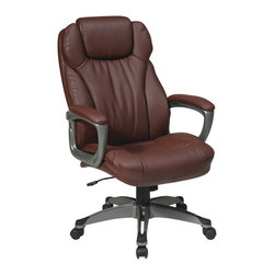 Office Star - Office Star ECH Series Eco Leather Chair with Padded Arms in Wine - Office Star - Office Chairs - ECH85807EC6 - Executive Eco Leather Chair with Padded Arms Coated Base and Built in Adjustable Headrest. Titanium coated frame with wine eco leather. 360 degree seat swivel. One touch pneumatic seat height adjustment. Locking tilt control with adjustable tilt tension. Padded arms.