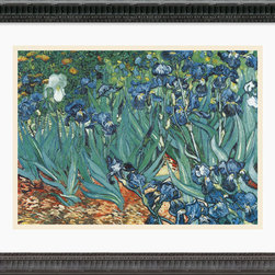 Amanti Art - Irises in the Garden Framed Print by Vincent Van Gogh - You won't have to wait for your annual crop of irises to pop up when you've got a beautiful reproduction of Van Gogh's masterpiece. The colorful flowers that he brought to life so many years ago will live on in your thoughtful home. You can admire his fine technique and talent without ever having to leave your home.