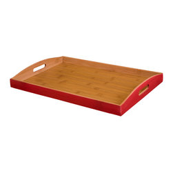 "Enchante Accessories Inc - Bamboo Serving Tray 18.70"" x 12.79"" x 2.16"" (Red) - Bamboo wood serving trayCan be used as a food serving tray or to hold household itemsSolid wood interior with painted edgesCut out handles for easy carrying from room to roomMeasures 18.70"" x 12.79"" x 2.16""With a variety of purposes and a versatile design that can be used in different rooms around the home, this chic bamboo serving tray is the perfect accent to any room. The Bamboo Serving Tray by Sheffield Home is made from natural bamboo wood and has a simplistic, modern design with a rectangular shape, a flat recessed surface, and slightly curved sides with cut out handles for easy carrying. The interior of the tray features a natural bamboo finish while the exterior painted edges add a pop of color to coordinate with your other favorite room d""cor, table top accessories, or home accents. This tray is available in a range of colors including green, red, and natural bamboo wood for the decorator who prefers a seamless, all-natural look.This tray can be used in a variety of different ways. Place it on top of a coffee table or use it as a flat surface on a living room ottoman to hold drinks and snacks or contain household items such as remote controls, coasters, magazines, mail, or tissue boxes. It helps to keep items organized and minimizes clutter that can collect around the room. In addition to using it as a catchall for small items, this tray can also be used as a traditional serving tray and offers an easy way to carry snacks and beverages into the living room or family room or take a sandwich and snacks to a student studying in their bedroom or a significant other hard at work in the home office. After a sit-down meal in the dining room, this tray can be used to carry dessert plates, coffee cups, or a tea set to the dining table to complete the meal. It has a variety of smart, versatile uses and has a chic, elegant look that can be used in any room of the home."