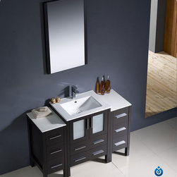 "Fresca - Fresca Torino 48"" Single Sink Vanity Set w/ 2 Side Cabinets & Integrated Sink - Fresca is pleased to usher in a new age of customization with the introduction of its Torino line. The frosted glass panels of the doors balance out the sleek and modern lines of Torino, making it fit perfectly in either 'Town' or 'Country' decor. Available in the rich finishes of Espresso, Glossy White, Light Oak and Walnut Brown, all of the vanities in the Torino line come with either a ceramic vessel bowl or the option of a sleek modern ceramic integrated sink."