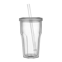 To-Go Tumbler - Reusable permanent version of the plastic drink cup features double-walled, no-sweat construction, snap-tight lid, and durable straw with stabilizing ring.