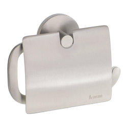 Smedbo - Loft Euro Toilet Roll Holder w Lid in Brushed Nickel Finish - Concealed fastening. 6 in. W x 3.88 in. H