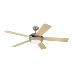 Westinghouse - Indoor Ceiling Fans: Westinghouse Comet 52 in. Brushed Pewter Ceiling Fan 781366 - Shop for Lighting & Fans at The Home Depot. Sporting a sleek brushed pewter finish, 5 reversible light maple/white plywood blades, and low-profile frosted glass light fixture, this Westinghouse Lighting Comet 52 in. Indoor Brushed Pewter Ceiling Fan will add contemporary comfort to any room. Ideal for rooms over 400 sq. ft. (20 ft. x 20 ft.) with standard 8 ft. ceilings, this fan features a 153 mm x 15 mm cold-rolled steel motor with a triple capacitor for powerful, quiet air circulation. Three fan speeds (high/medium/low) and a reversible switch helps keep you comfortable year-round. The ceiling fan provides airflow of up to 5,199 CFM. It is rated to operate at 61 watts at high speed (without lights), which gives it an airflow efficiency rating of 85 CFM/watt. (As a comparison, 49 in. to 60 in. ceiling fans have airflow efficiencies ranging from approximately 51 to 176 CFM/watt at high speed.) This Comet is remote control adaptable and comes with everything you need for installation, including a 3/4 in. x 4 in. (D x L) down rod, a 78 in. lead wire, and 2 candelabra-base 40-watt torpedo light bulbs. It is backed by a lifetime motor warranty and a 2-year warranty on all other parts.