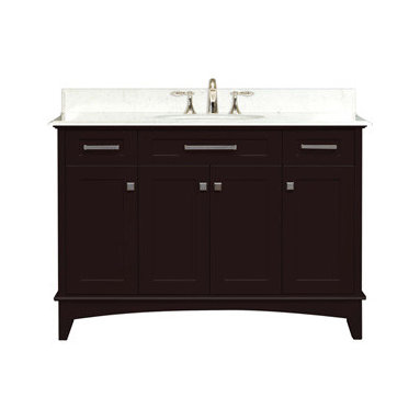 """Water Creation Inc. - Manhattan Collection 48"""" Wide Single Sink Vanity - The Water Creation Manhattan Collection 48"""" single sink bathroom vanity is perfect for the bathroom project that demands a striking focal point. This Espresso finished vanity features 4 doors, 2 drawers and a Carrara White Marble counter top with backsplash. The counter top is pre-drilled for 8"""" wide spread lavatory faucets."""