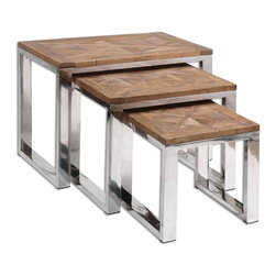 Uttermost - Hesperos Nesting Tables - Solid, reclaimed fir wood top with polished stainless steel legs. Sizes: small 15x15x15, medium 22x17x19, large 28x18x22