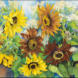 The Tile Mural Store (USA) - Tile Mural - Queen Anne Lace & Sunflowers - Kitchen Backsplash Ideas - This beautiful artwork by Joanne Porter has been digitally reproduced for tiles and depicts a beautiful flower picture.  With our enormous selection of tile murals of plants and flowers you can bring your kitchen backsplash tile project to life. A decorative tile mural with plants and flowers is an impressive kitchen backsplash idea and decorative flower tiles also work great in the bathroom. Add splashes of color and life to your tile project with images of flowers on tiles and tiles with pictures of plants.