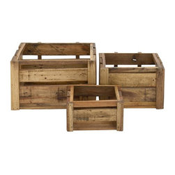 Wood Panel Crates - Set of 3 - If you appreciate a functional, rustic look over ultra modern décor, than these storage crates are for you. Constructed of quality wood panels, these three crates of three assorted sizes are incredible spaces for miscellaneous items in your home, garden, office, or shed. Sport a cool loft look in your studio, or a look that's rustic modern chic in your living roomÑthese crates are super versatile and can be dressed up or down depending on your use.