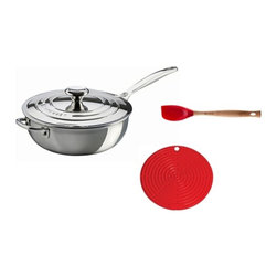 Le Creuset - Le Creuset Stainless Steel Chef's Sauteuse Pan With Bonus, 3.5-qt - A saucier pan, sometimes called a chef's pan, is designed with a rounded bottom to keep ingredients moving, and flared sides to facilitate easy whisking and stirring. It is particularly suited to dishes that involve constant stirring, such as sauces, risottos and custards. Ergonomic handles make for convenient carrying and lifting. Set Includes: