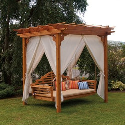 A & L Furniture Cedar Pergola with Optional Curtain - Create the ultimate getaway without having to leave your own backyard. The A & L Furniture Cedar Pergola with Optional Curtain gives you a perfect awning of Western Red Cedar, ideal for any outdoor table, seating area or porch swing. The slatted roof allows the sun to peek through, while also allowing some shade, keeping you cool in the afternoon heat. Each individual wood plank allows space for hanging plants or other decorative items, so that you can personalize your pergola perfectly. Cedar is naturally insect and rot free, so you can enjoy this piece for years to come. The available curtain option allows to you create a more private setting - perhaps a candlelit dinner under the stars, or maybe just to keep that 5 o'clock sun out of your eyes. The fabric is made of Sundown Acrylic, a heavy, tight-knit fabric that will withstand the sun's rays for a long period of time. Porch Swing shown is the ALF038 Marlboro Cedar Swingbed. See below to purchase this swingbed. About A and L Furniture:For fine-quality furniture, you can't find much better than Amish-made pieces. Using hydraulic- and pneumatic-powered woodworking tools and wood hand-selected for each furniture piece, Amish craftsmen pay great attention to each detail, resulting in beautiful and timeless furniture. Amish woodworkers select each piece of wood for its grain and other individual characteristics, and these characteristics are highlighted so that no two pieces of furniture are ever identical. Made in the heart of Pennsylvania by these dedicated workers, each piece of A and L's furniture is sure to become a treasured heirloom for your family.Please note, this product does not ship to Pennsylvania.