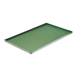 Paderno World Cuisine - 23 5/8 in. by 15 3/4 in. Non-stick Baking Sheet - This 23 5/8 long by 15 3/4 non-stick baking sheet has shallow, flared edges suited for baking and browning large, dense dough products. The sheet allows for full exposure to the heat of the oven.
