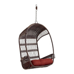 Swingasan, Mocha - This outdoor swing from Pier 1 is amazing! It features an airy, open-weave back and side compartments for a drink. The all-weather synthetic rattan is extremely durable, and it can be hung from either a separate chair stand or a porch ceiling.