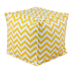"""Chooty - Chooty Zig Zag Corn Collection 17"""" Square Seamed Beads Hassock - Insert EPS Styrofoam Beads, Fabric Content 100 Cotton, Color Yellow, White, Ottoman 1"""