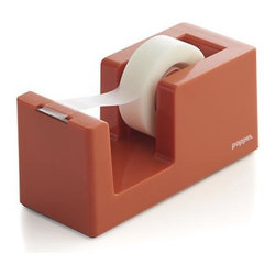 Poppin® Orange Tape Dispenser - We've partnered with the modern design mavens at Poppin for our curated collection of desk accessories—each a testament to their mission of creating beautiful everyday objects that blend work and life. Orange tape dispenser deconstructs the traditional design in a sleek, modern version you'll want to keep in sight. Tape roll is easy to replace; serrated edge provides smooth tear-off while the solid weighted core keeps the dispenser in place.