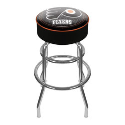 Trademark Global - Bar Stool w Padded Seat & NHL Philadelphia Fl - Enjoy exciting Philadelphia Flyers action in this backless bar stool. It has a retro feel and supreme comfort. Super stable steel base has curved legs and sleek chrome finish. Officially licensed by the NHL, it's an ideal addition to your sporting lifestyle! Adjustable levelers. Long lasting officially licensed NHL team logo. Great for gifts and recreation decor. 7.50 in. High padded seat. 30 in. High bar stool great for bar pub table and bars. Commercial grade vinyl seat. Chrome plated double rung base. 14.75 in. W x 14.75 in. D x 30 in. H (17 lbs.)This National Hockey League Bar Stool will be the highlight of your bar and game room.