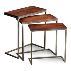 Jules Nesting Tables - Deep, rich tones drawn from the antique office and the vintage collegiate library lend a tone of upper-end distinction to this sleekly-designed trio of surfaces, the Jules Nesting Tables. The set of three occasional tables is made from walnut-finished wood and graphite-finished metal in a handsome duet which mingles casual and formal impressions for your uptown home.